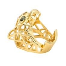 Zielone oczy Leopard Panther pierścionek koktajlowy dla mężczyzn/kobiet kryształy biżuteria akcesoria RIA003