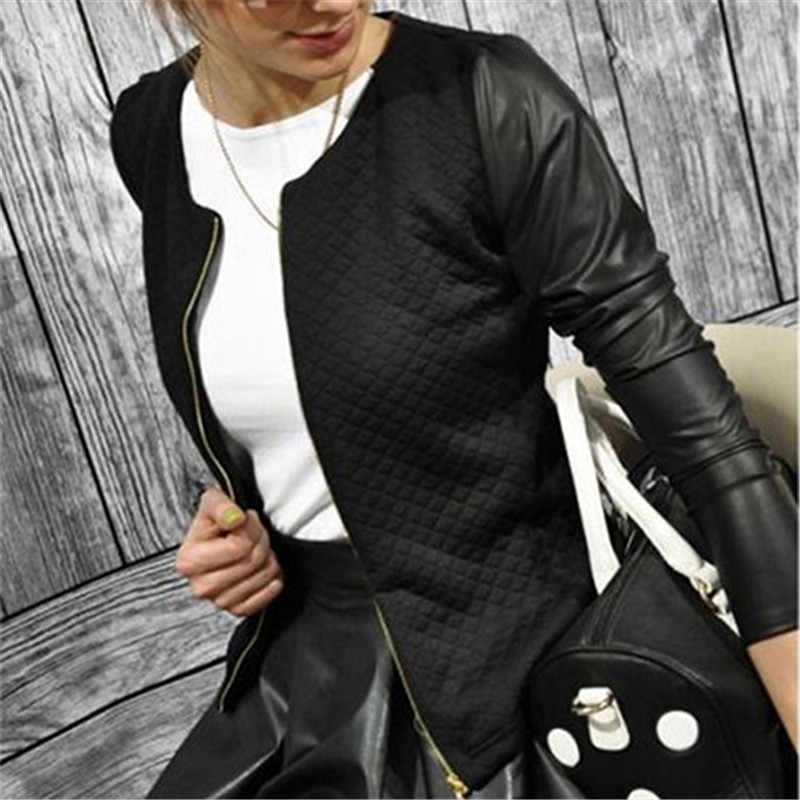 Autumn Fashion Women's Jackets Faux Leather Splicing Long Sleeve Lady Outwear Coat Short Style Slim Jackets Spring Casual Coats