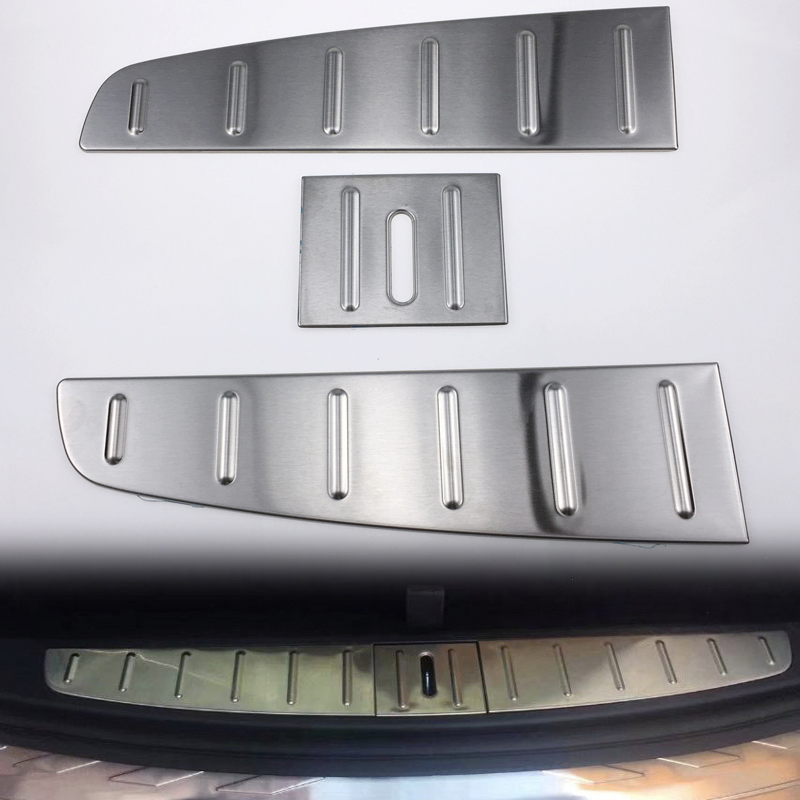 Car Styling Accessories 3PCS Stainless Steel Inner Rear Bumper Protector Guard Plate Cover Trim For Tesla Model X 2016 2017 2018Car Styling Accessories 3PCS Stainless Steel Inner Rear Bumper Protector Guard Plate Cover Trim For Tesla Model X 2016 2017 2018