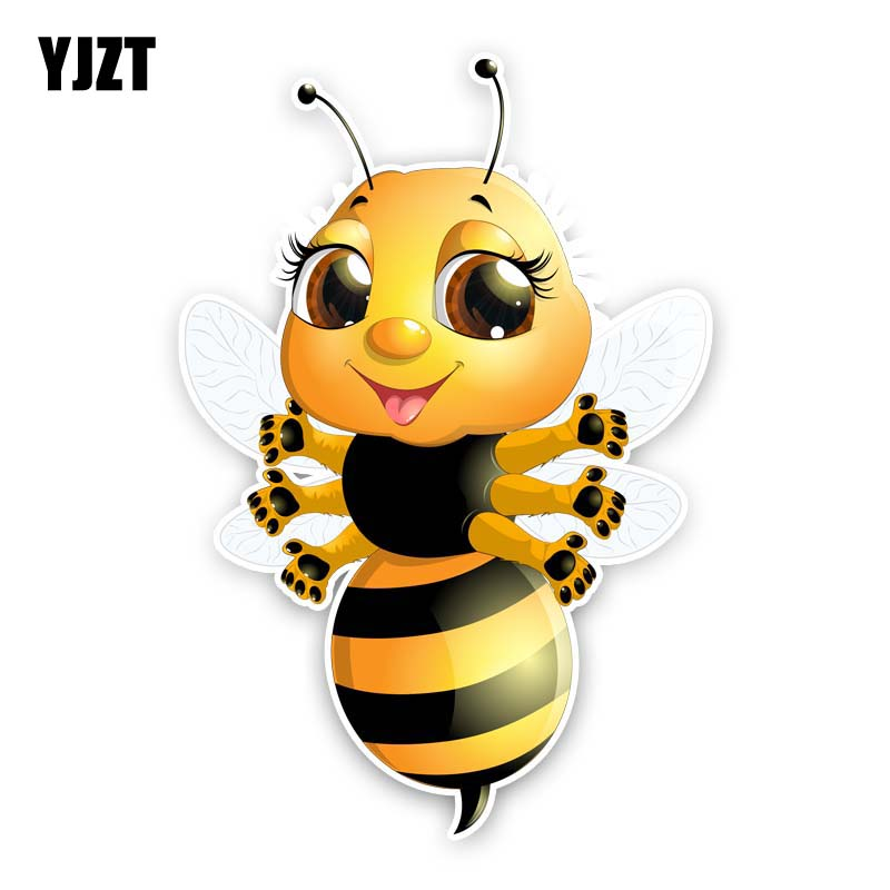 YJZT 9.6CM*14.1CM A Bee With Six Hands Car Sticker Cartoon PVC Decal 12-300628