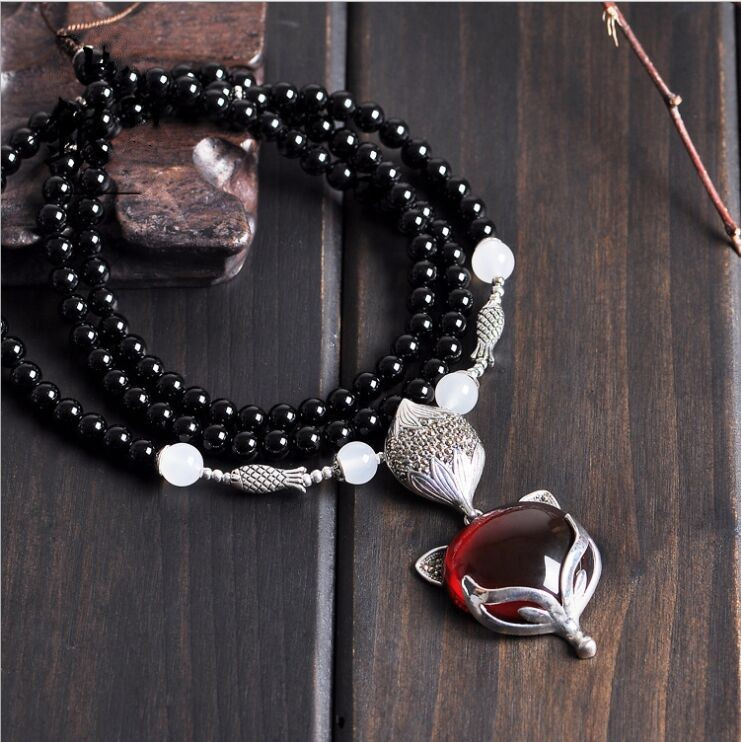 S925 solid silver long sweater chain vintage garnet crystal small fox pendant necklace female