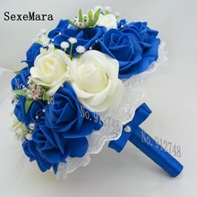 2017 Romantic Wedding Bridesmaid Rose Pearls Artificial Flowers Bridal Bouquets Handmade Wedding Bouquets wedding flowers bridal(China)