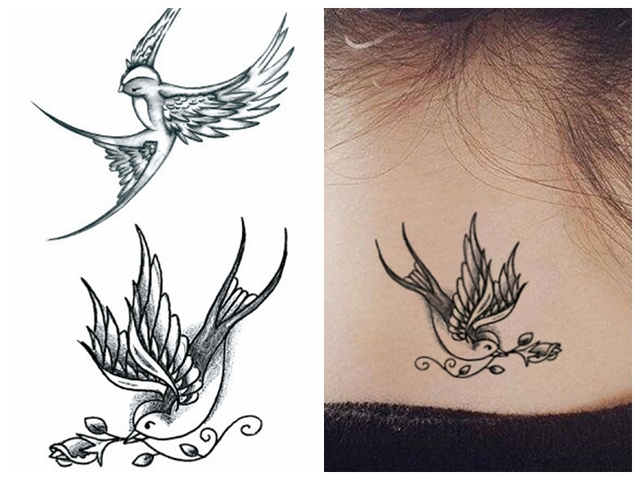 cce328fa8 Water Transfer fake tattoo Swallows birds tatoo Waterproof Temporary flash  tatto for gril woman man 10.5