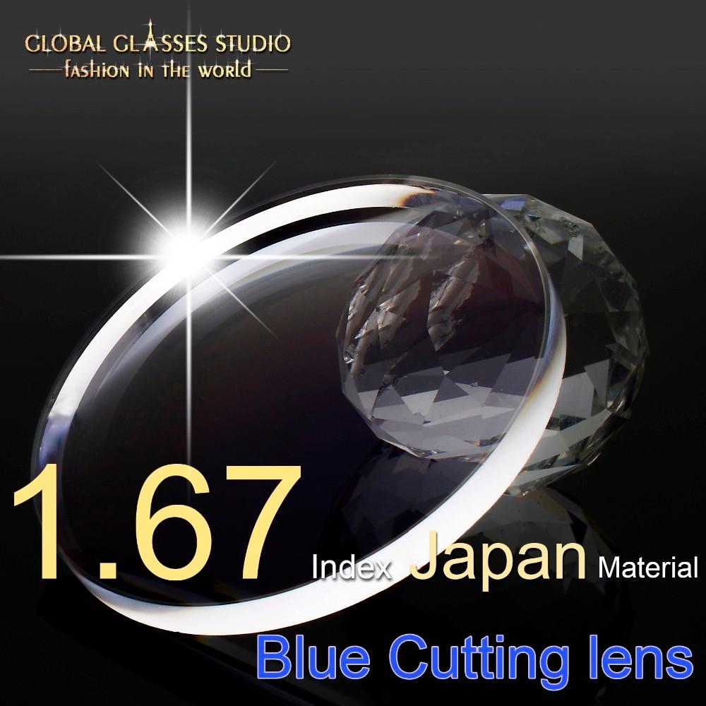 1 67 Index Resin Aspherical Lens Myopia Scratch resistant SHMC Japan Water proof Material Ant Blue