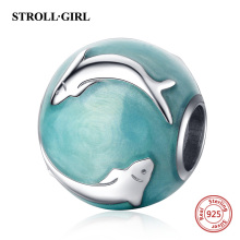 Strollgirl 925 Sterling Silver Blue-green Enamel Dolphin Beads Fit Pandora Bracelet Women Fashion DIY Sterling Silver Jewelry водонагреватель накопительный thermex ess 70 v silverheat