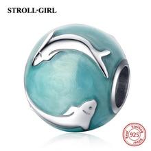 Strollgirl 925 Sterling Silver Blue-green Enamel Dolphin Beads Fit Pandora Bracelet Women Fashion DIY Jewelry