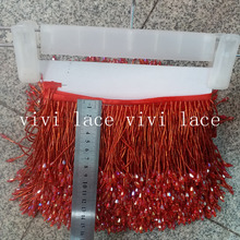 YY005#10 метров один мешок красные бусы ленты с бахромой 9/10 см ширина для украшения распиловки платье/Мода дизайнер/торжественное платье