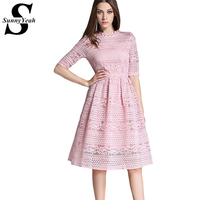 Women Lace Dress 2017 New Spring Summer Fashion Elegant Soluble Lace Embroidery Slim Tunic Office Party