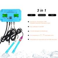 Professional 3 in 1 pH Meter TEMP/ORP Meter PH Controller Water Tester BNC Type Probe Water Quality Tester for Aquarium Monitor
