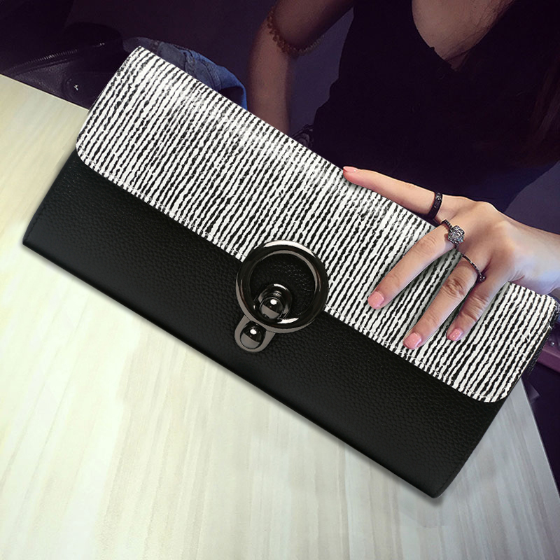 2017 New Women Banquet Long Clutch Bag Ladies Purse Chain Shoulder Bag Genuine Leather Wallet Evening Party Handbag Day Clutches striped fashion design lingge pu leather mini party clutch bag ladies evening bag chain purse mini shoulder bag handbag flap
