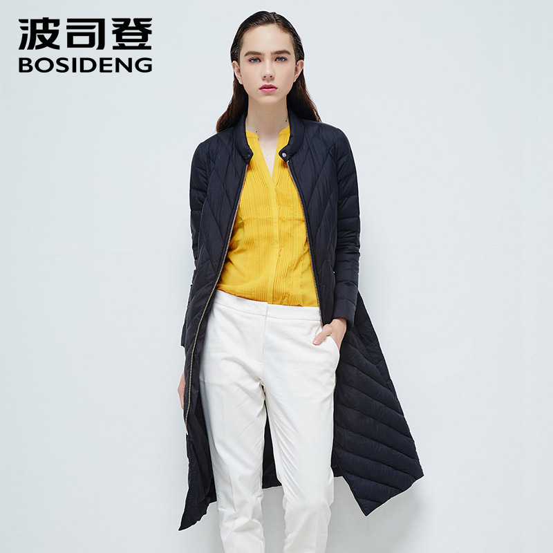BOSIDENG 2018 goose   down     coat   women X-long   down   jacket twill stripe solid color stand collar B1601072