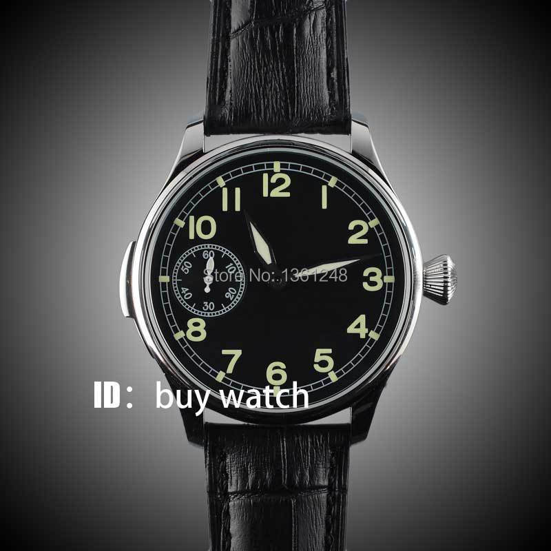 44mm parnis black dial luminous ST 6497 Mechanical ST manual wind mens watch P123 цена и фото