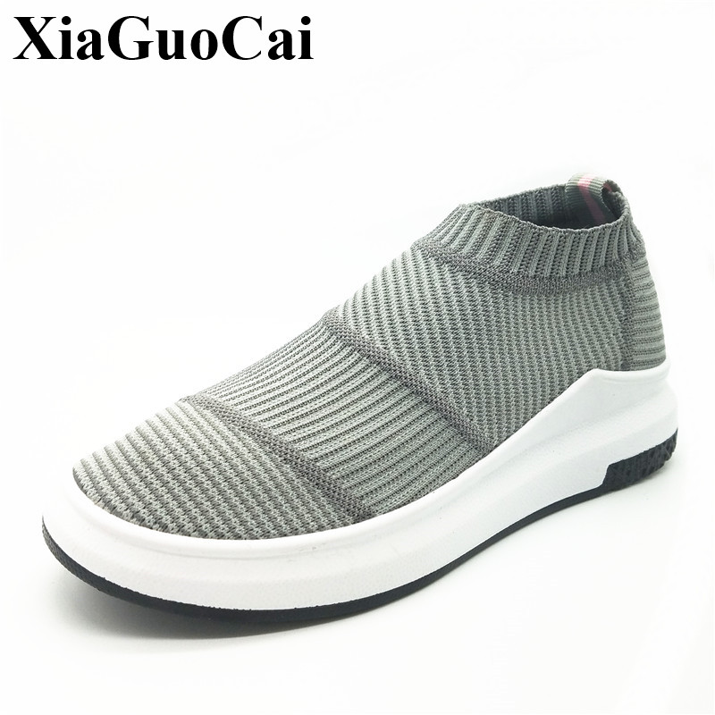 Fly Weave Socks Shoes Women Breathable Elastic Fabric Casual Slip-on Flats Shoes Thick Bottom Solid Single Shoes H359 35 soothing massage bottom plain socks