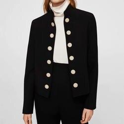 Черная курточка Для женщин осень 2018 Твердые Стенд воротник блейзер Кнопка короткая верхняя одежда женский Винтаж Блейзер Для женщин