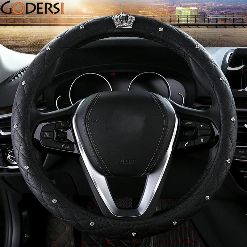 Godersi Luxury Crystal Crown Studded Rhinestone PU Leather Car Steering Wheel Cover Diamond Steering For Women Girl Car Styling