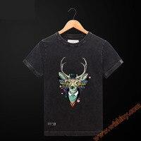 ファッション鹿ヘッダtシャツ動物デザイン100%綿のtシャツメンズ