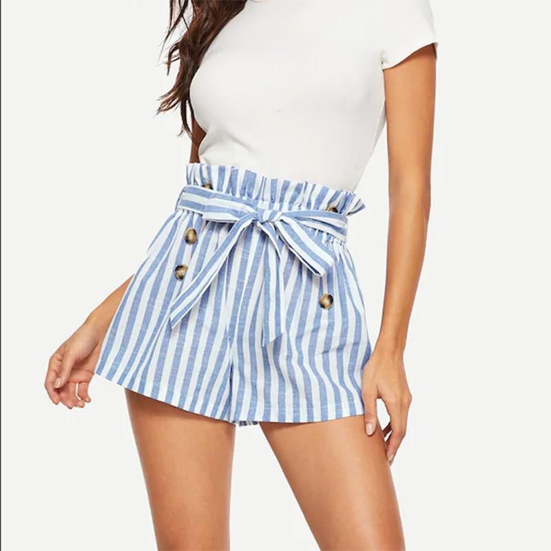 Blue High Waist Striped Sashes Shorts Women 2019 Summer Sexy Button Mini Shorts Harajuku Ladies Summer Shorts Female