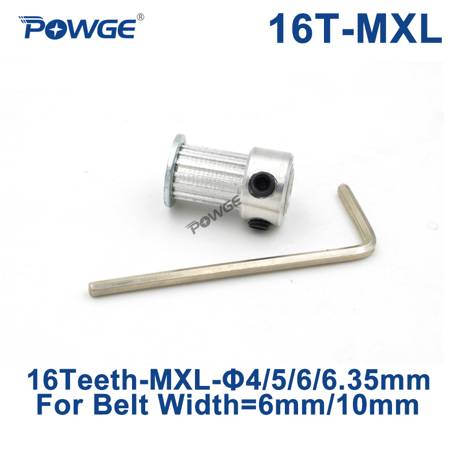Poulies trapézoïdales de 16 dents de POWGE pouce alésage de poulie de distribution 4/5/6/6.35mm pour largeur 6/10mm MXL roue dentée synchrone 16 dents 16 T
