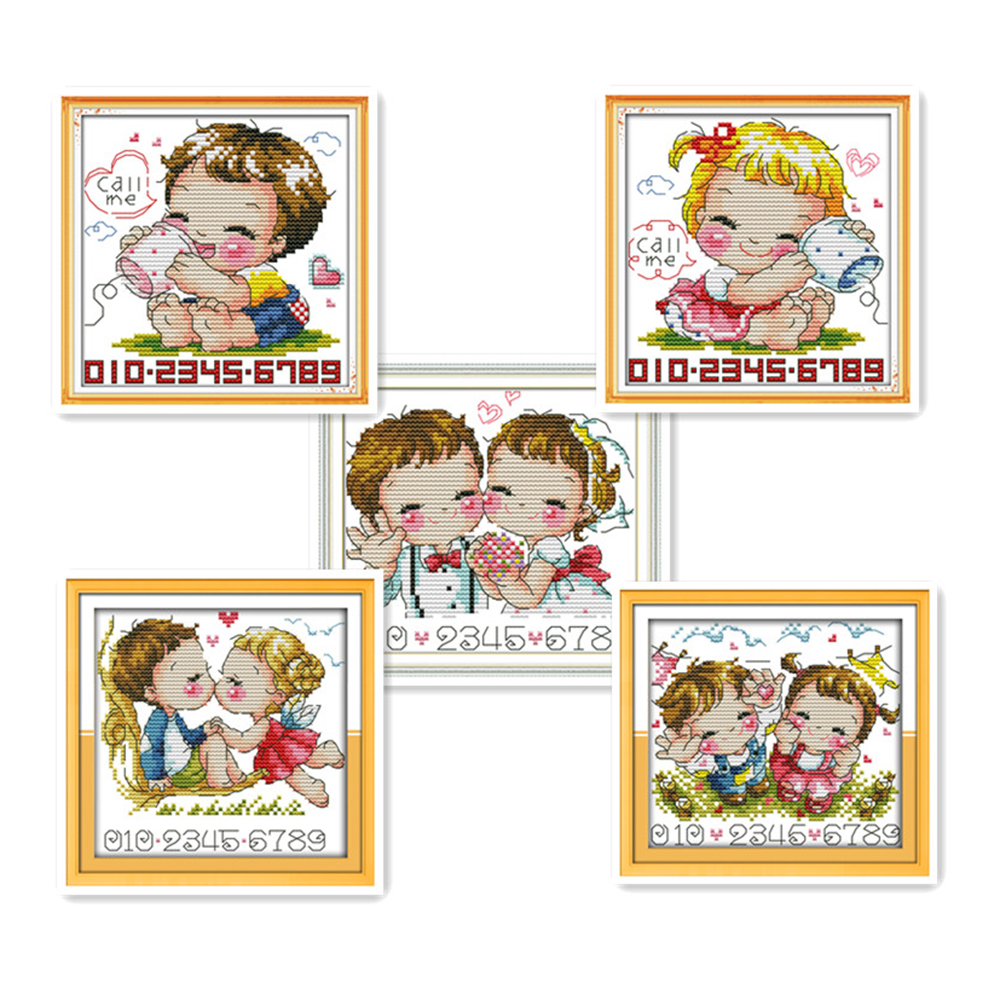Everlasting love Call me Chinese cross stitch kits Ecological cotton stamped printed 11CT DIY gift wedding decoration for home