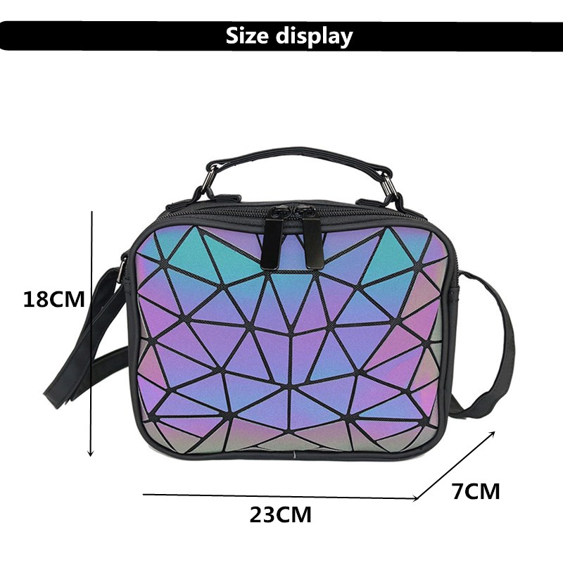 Image 5 - MAGICYZ Women Laser Luminous handbags Small Crossbody Bags for Women Shoulder bag Geometric Plaid Hologram small Square bags-in Shoulder Bags from Luggage & Bags