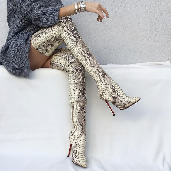 F.N.JACK Sexy Ladies Python Thigh High Boots Pointy Toe Over The Knee High Heels Snake Leather Zip Women Boots