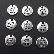 15 шт серебряный цвет Любовь Вера надеюсь мини круглая тарелка