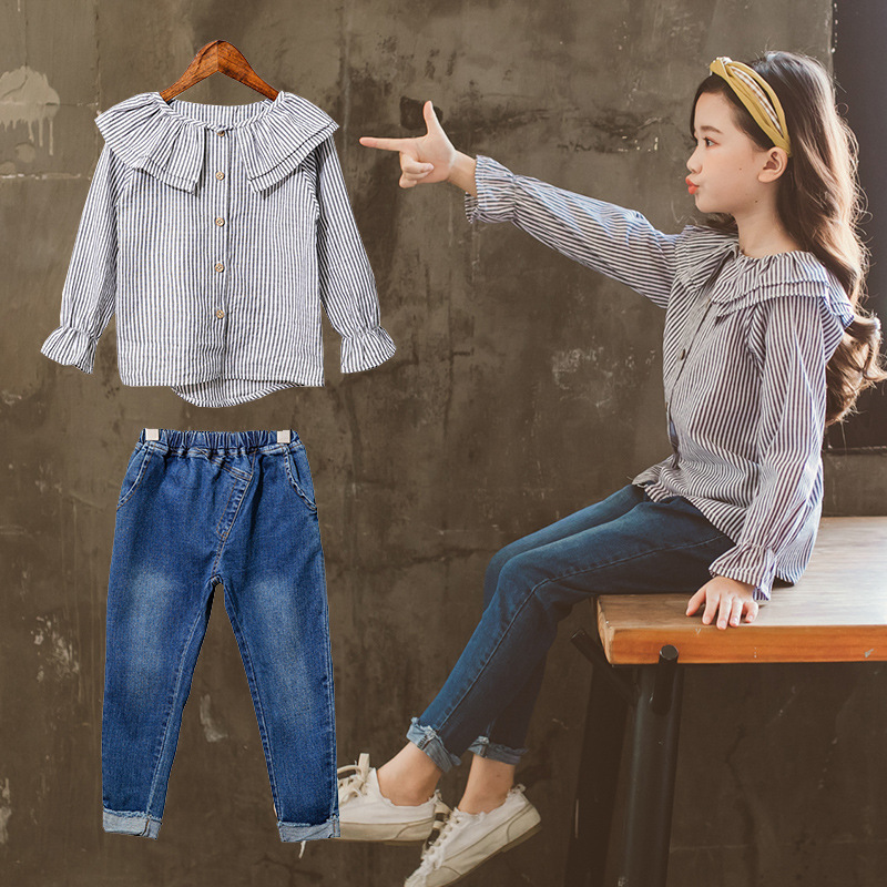 2018 Girls Clothes Set Autumn Striped Blouses Shirts + Denim Pants Jeans 2pcs Girls Set Toddler Girls Clothing Kids Costume Wear girls slant pocket detail striped pants with belt