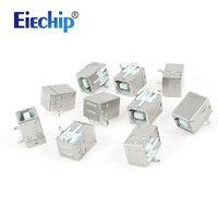 Free Shipping 10pcs PCB Mount 90 Degree 4 Pin USB 2 0 Type B Female Jack