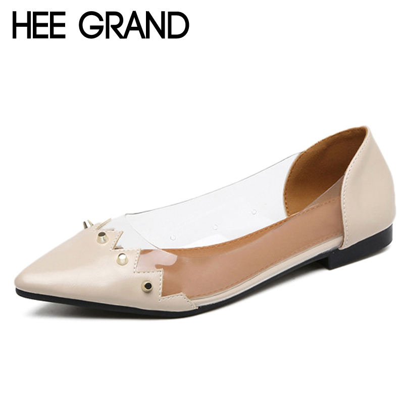 HEE GRAND Metal Decoration Casual Flat Shoes Woman Spring Transparent Loafers Slip On Flats Pointed Toe Women Shoes XWD6283 hee grand pearl ballet flats 2017 crystal loafers bling slip on platform shoes woman pointed toe women shoes size 35 43 xwd4960