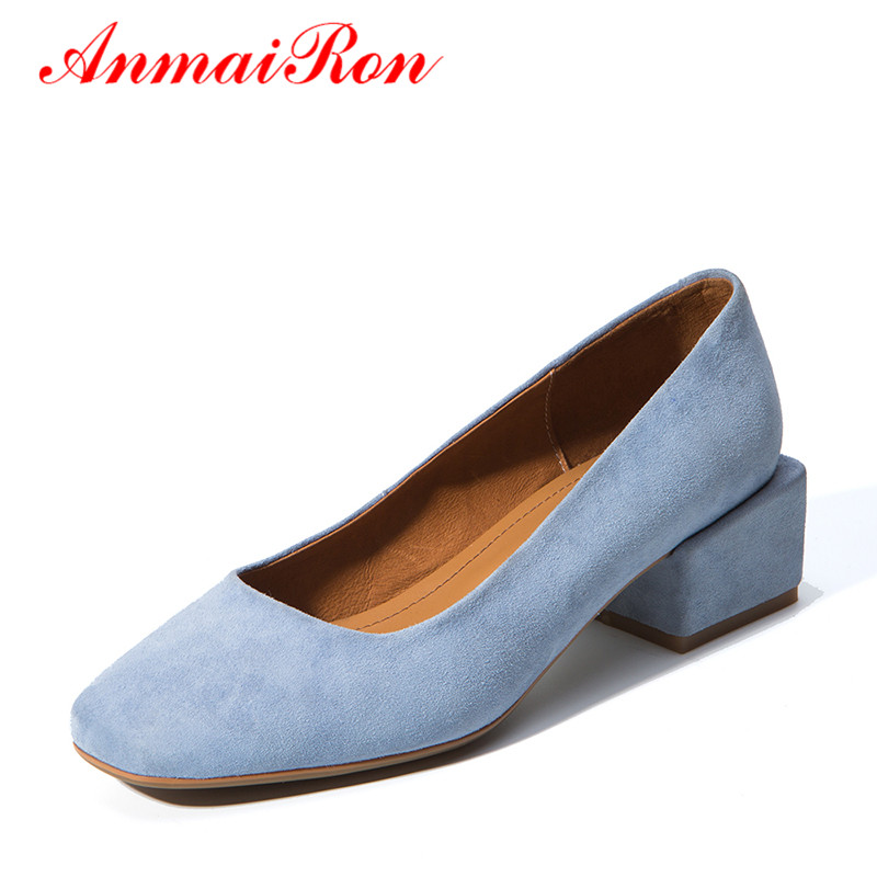 ANMAIRON Women Summer Suede Black Pumps Low Heels Court Shoes Woman Consice All-match Slip-On Square Heels Office Lady Shoes anmairon women pumps 2018 low heel spring court shoes woman pointed toe pumps med heels silver gold women black giltter shoes