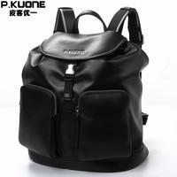 P.KUONE Genuine Leather 2018 New Fashion Men Luxury Brand Bag Waterproof Laptop Messenger Travel Backpack For Women School Bags