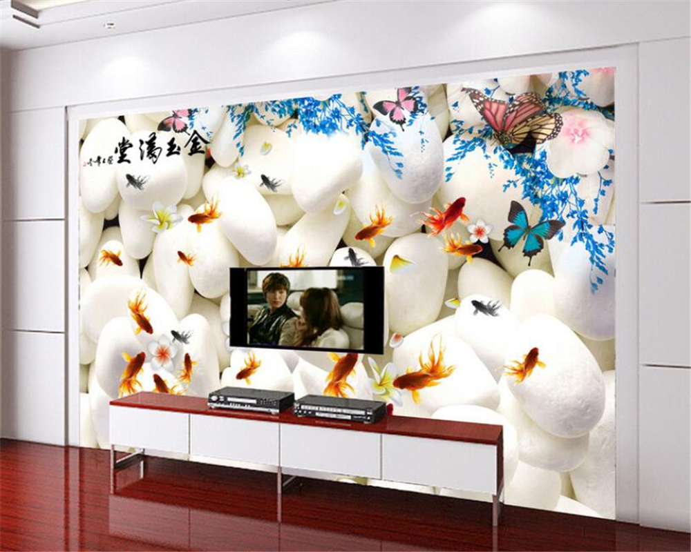 Modern Home Background Decoration Wallpaper For Walls 3 D  White Pebble Goldfish Butterfly Photo Wallpaper Mural Beibehang