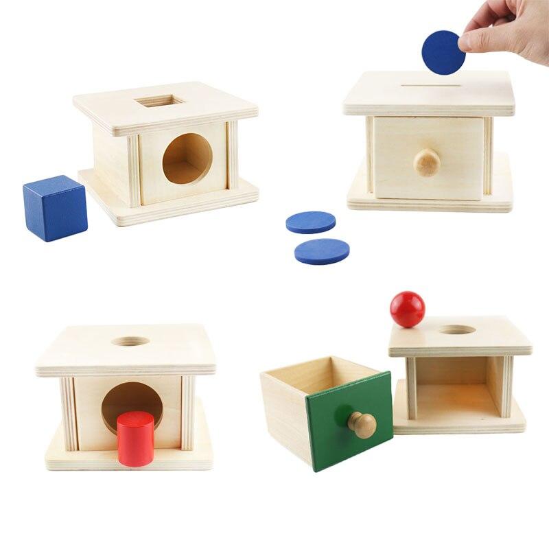 Niño infantil Montessori bola de madera de moneda caja de juguetes educativos para niños de preescolar formación Brinquedos Juguets G1946T