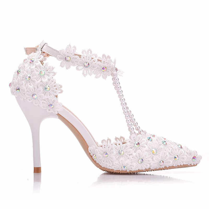 Bombas Dedo De Boda Partido Alto Fiesta Cristal Flor White Tacón Ab Blanca Heels Novia Festival Del Prom Encaje Puntiagudo Dama Zapatos Pie 9cm gx7S8Swq
