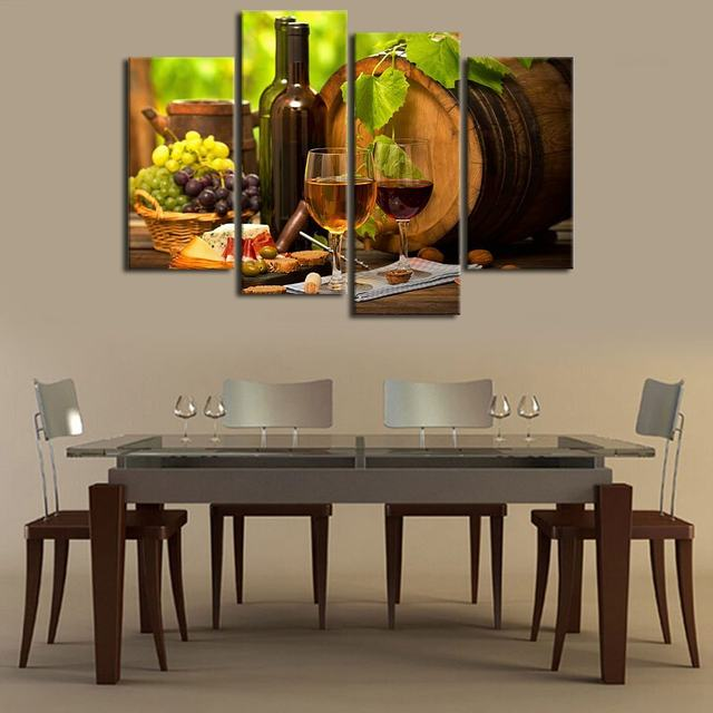 Exceptionnel Kitchen Wall Art Canvas Prints Grapes Wines Fruits Painting Print On Canvas    4 Piece Canvas Art Artwork For Dining Room Decor