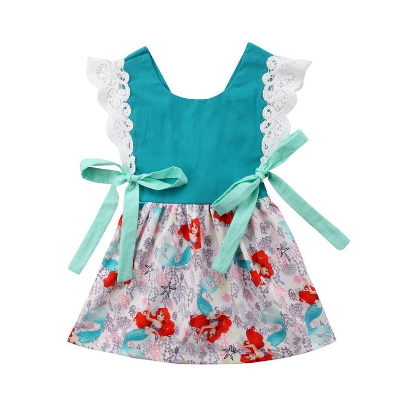 Kids Baby Girl Ariel Bowknot Sundress Sleeveless Princess Summer Tutu Lace Dress