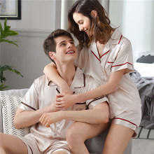 Couple Pajama Female Summer Satin Silk Male Sleepwear Thin Short Sleeve Ice Pyjama Sets Plus Size Homewear Man Woman X9824