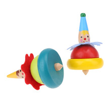 Tumbler-Toy Spin-Toy Wooden Educational for Baby 2pcs Intelligence Clown-Pattern Cartoon-Rotation