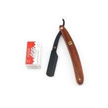 Straight razor Mens shaving razors Black cover Solid wood handle NEW