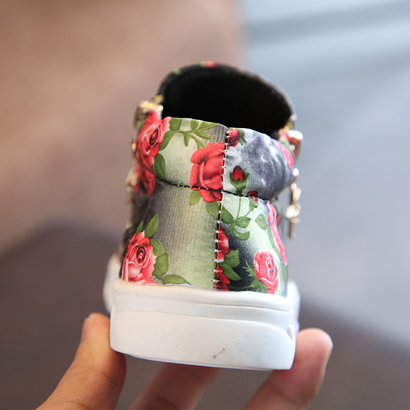 Comfy kids Flower Boots Shoes Girls Fabric Flat With Casual Boots Shoes For Baby 21-25-36 Autumn Childrens Boots Shoes