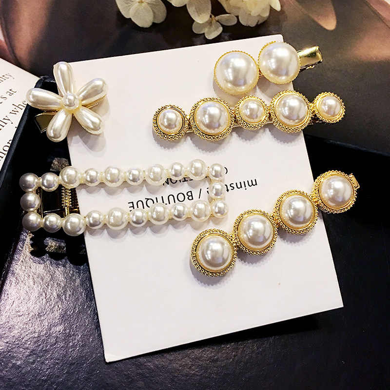 New Korean Wild Elegant Alloy Clip Simulation Pearl Hairpin Female Wedding Hair Accessories Hair Pin Hair Jewelry Wholesale