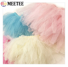 Meetee 3meters 8cm Mesh Tassel Lace Trims Color Polyester Soft Yarn Fabric DIY Doll Decorative Clothing Sewing Accessories