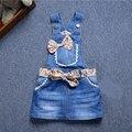 Novo 2016 Do Bebê Meninas Denim Vestido de Verão Meninas Vestido Suspender Denim Coração/Flor-de impressão Mini Vestido de Verão para Crianças de Todos Os Jogo Vestido