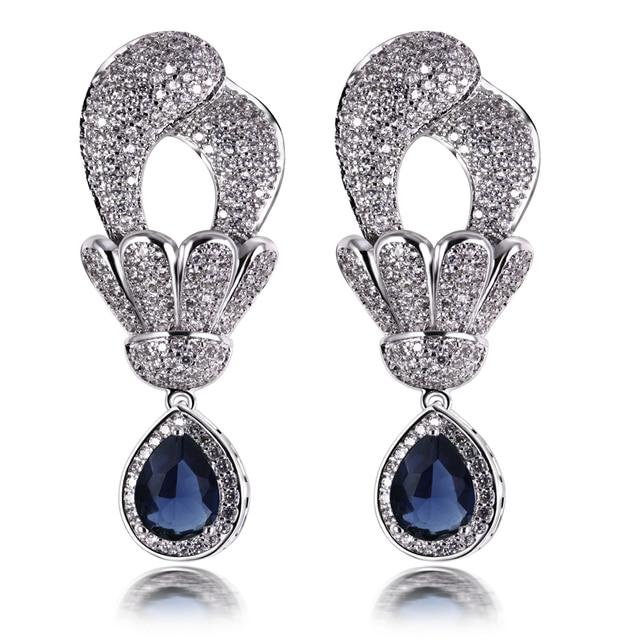 Nice Drop Earrings Women Flower Earring Rhodium Plated With Aaa Cz Fashion Wedding Party Jewelry Free