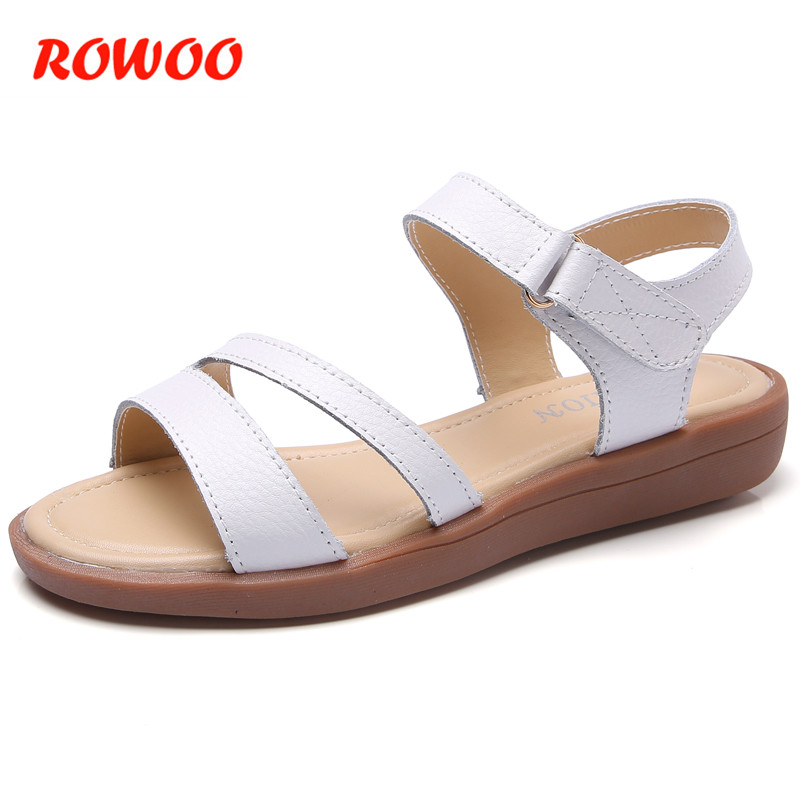 Women Sandals Non-Slip Flat 2018 Summer New Leather Soft Sandals Female Students Solid White Casual Flat Shoes Ladies Sandals xq new breathable cloth shoes fashion women hollow out summer casual shoe air mesh flat shoes sandals non slip ladies shoes s102