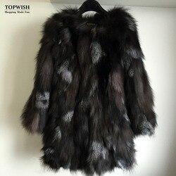Hot Koop Vrouwen Mode Natuurlijke Vos Bont Lange Jas Echte Vos Bontjas Echt Bont voor high fashion merk TFP671