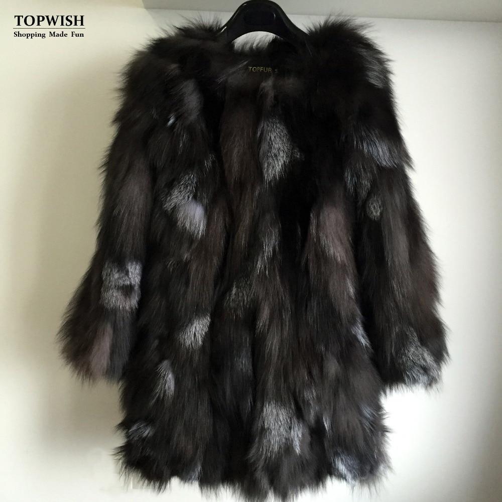 Hot Sale Women Fashion Natural Fox Fur Long Coat Real Fox Fur Coat Genuine Fur For High Fashion Brand TFP671