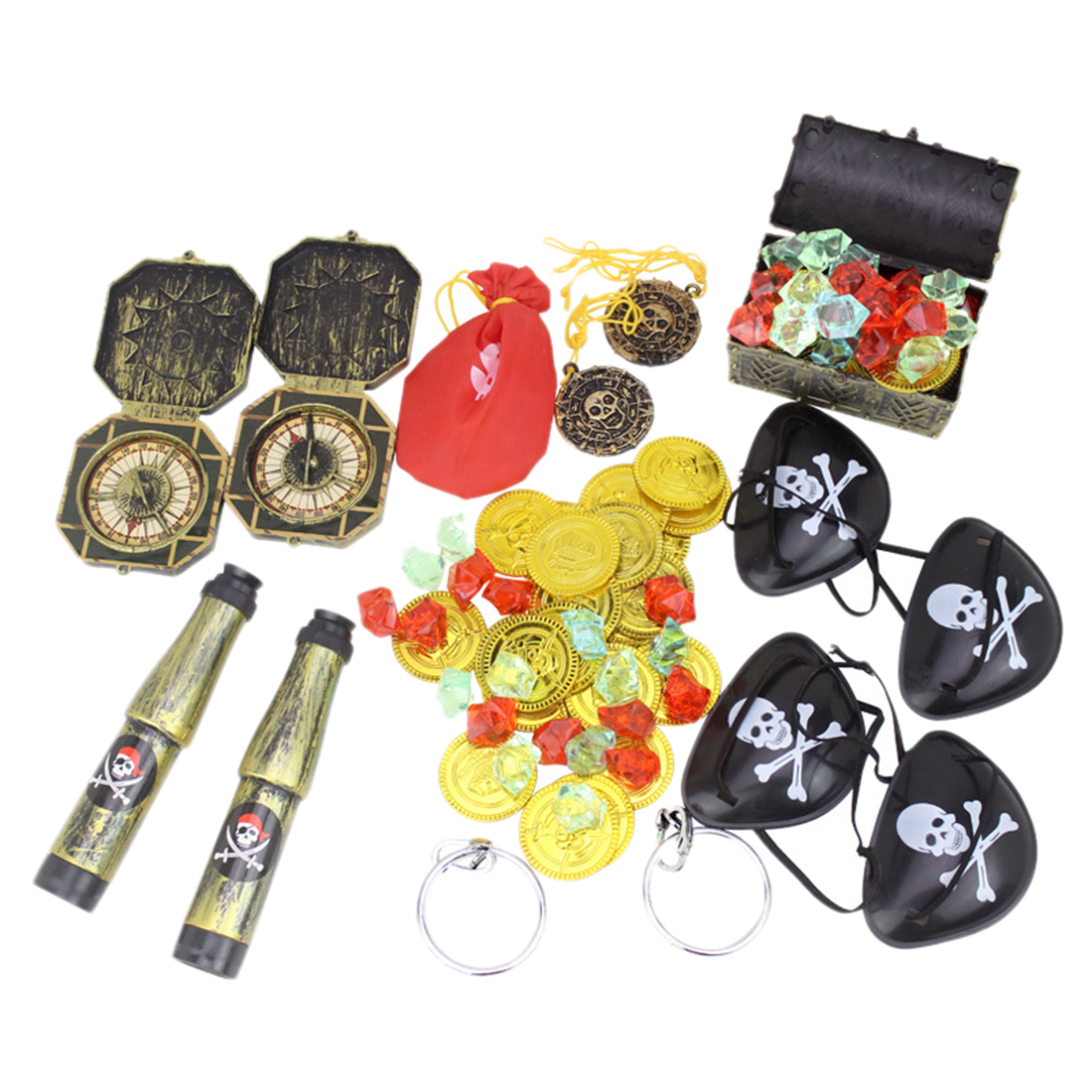 60Pcs Pirates Costume Props Set Pirate Eye Patch Eyeshade Cover Gold Coins Pirate Gems Jewelry Treasure Box Kid's Party Supply