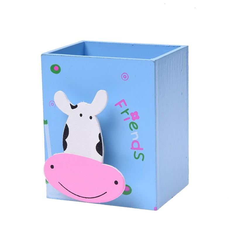 Best A pencil box pen pot blue wooden storage office