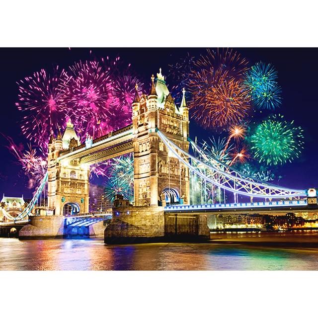 5D DIY diamond embroidery London bridge landscape diamond painting Cross Stitch full square Rhinestone mosaic decoration